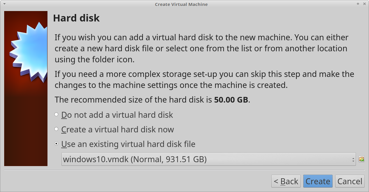 A screenshot of the hard disk section of the VirtualBox virtual machine setup wizard, with the VMDK file created in the previous step selected.