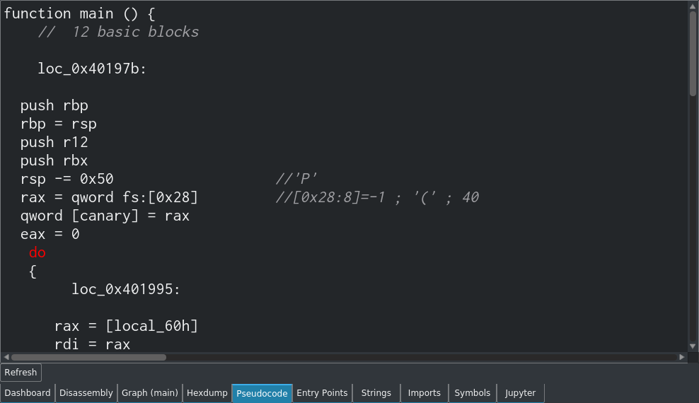 A screenshot of the Cutter pseudocode view.
