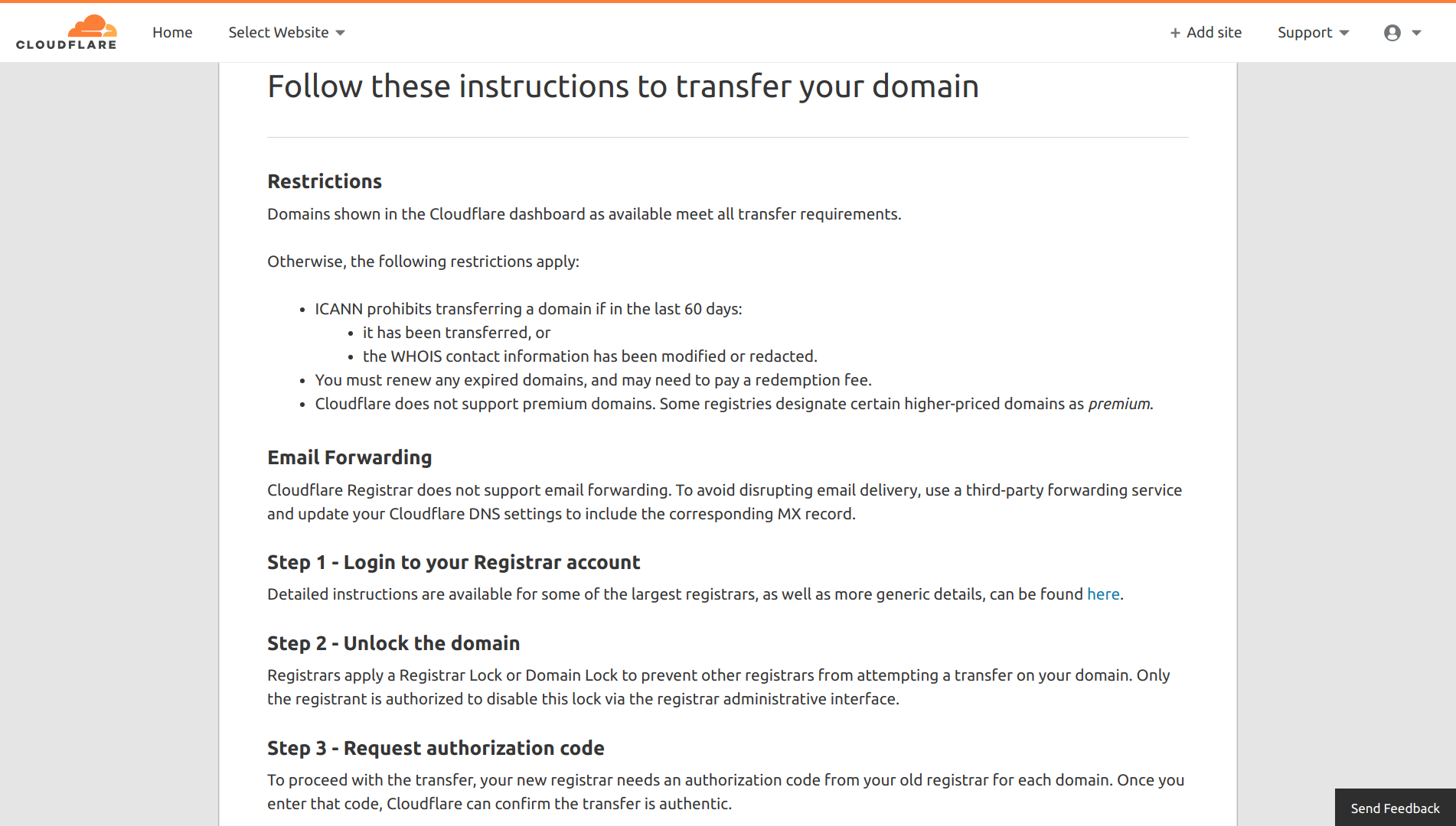 Transferring Domain Names to Cloudflare Registrar